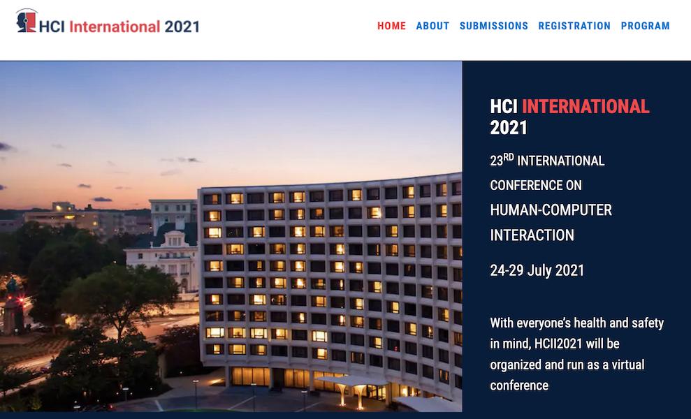 HCII '21 Web site